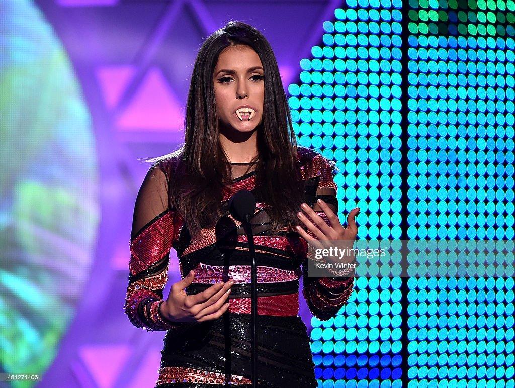 Actress Nina Dobrev accepts the Choice TV Actress Fantasy/SciFi Award for 'Vampire Diaries' onstage during the Teen Choice Awards 2015 at the USC...