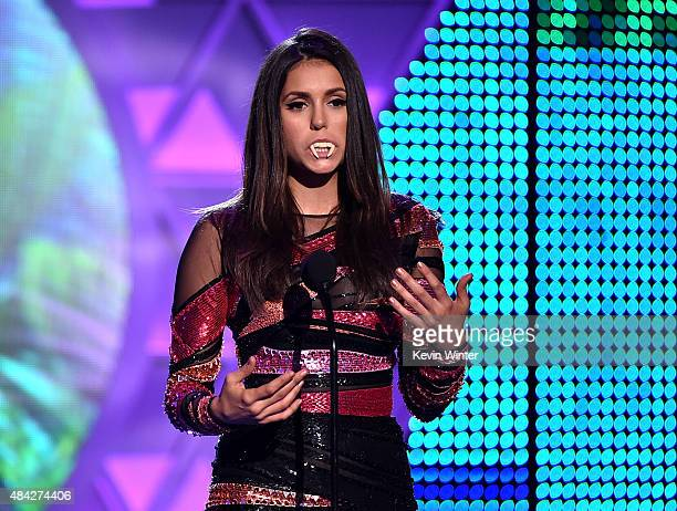 Actress Nina Dobrev accepts the Choice TV Actress Fantasy/SciFi Award for 'Vampire Diaries' onstage during the Teen Choice Awards 2015 at the USC...