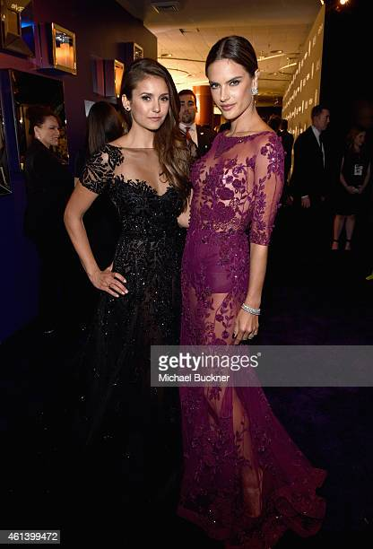 Actress Nina Dobrev and model Alessandra Ambrosio attend the 2015 InStyle And Warner Bros 72nd Annual Golden Globe Awards PostParty at The Beverly...