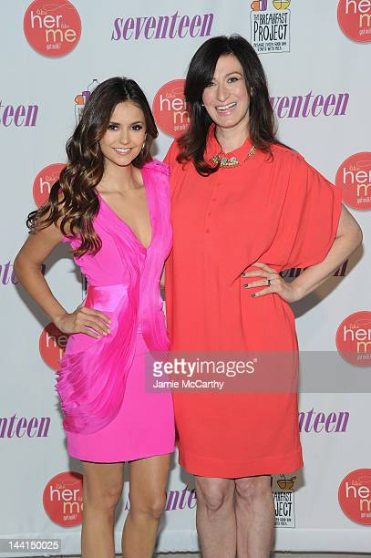 Actress Nina Dobrev and Seventeen EditorinChief Ann Shoket attend the event where Nina Dobrev launches 'Like Her Like Me' and searches for the next...