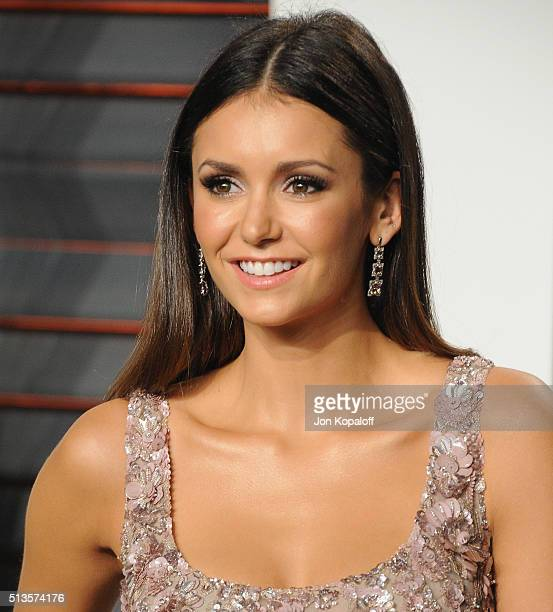 Actress Nina Dobrev arrives at the 2016 Vanity Fair Oscar Party Hosted By Graydon Carter at Wallis Annenberg Center for the Performing Arts on...