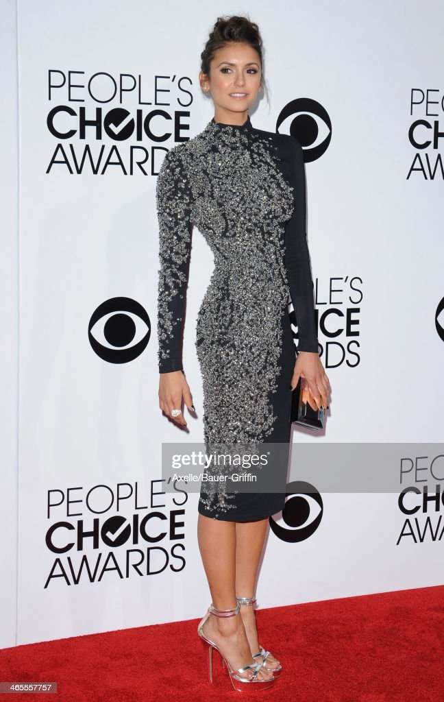 Actress Nina Dobrev arrives at The 40th Annual People's Choice Awards at Nokia Theatre L.A. Live on January 8, 2014 in Los Angeles, California.
