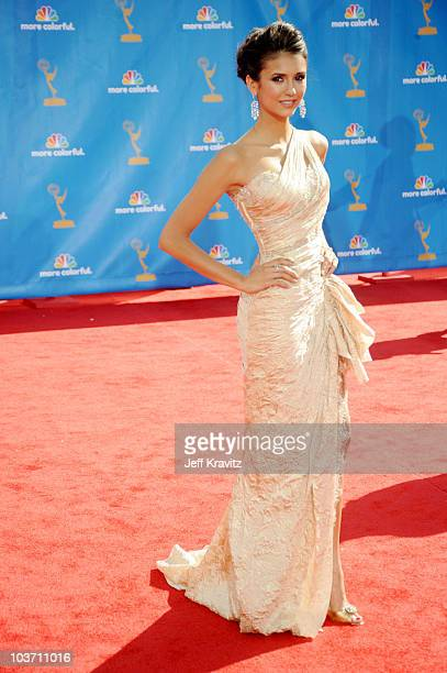 Actress Nina Dobrev arrives at the 62nd Annual Primetime Emmy Awards held at the Nokia Theatre LA Live on August 29 2010 in Los Angeles California