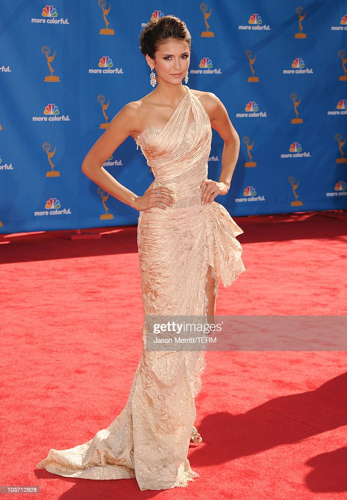 Actress <a gi-track='captionPersonalityLinkClicked' href=/galleries/search?phrase=Nina+Dobrev&family=editorial&specificpeople=4397485 ng-click='$event.stopPropagation()'>Nina Dobrev</a> arrives at the 62nd Annual Primetime Emmy Awards held at the Nokia Theatre L.A. Live on August 29, 2010 in Los Angeles, California.