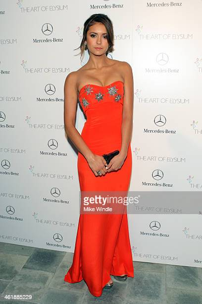 Actress Nina Dobrev arrives at The Art of Elysium's 7th Annual HEAVEN Gala presented by MercedesBenz at Skirball Cultural Center on January 11 2014...