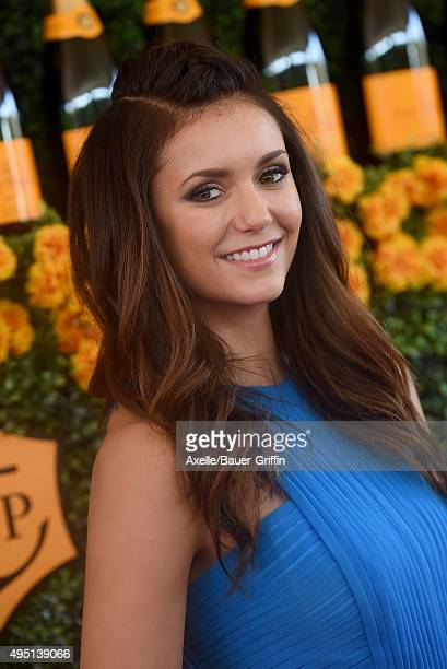 Actress Nina Dobrev arrives at the SixthAnnual Veuve Clicquot Polo Classic Los Angeles at Will Rogers State Historic Park on October 17 2015 in...