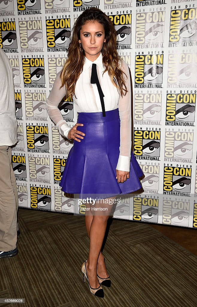 Actress <a gi-track='captionPersonalityLinkClicked' href=/galleries/search?phrase=Nina+Dobrev&family=editorial&specificpeople=4397485 ng-click='$event.stopPropagation()'>Nina Dobrev</a> attends 20th Century Fox Press Line during Comic-Con International 2014 at Hilton Bayfront on July 25, 2014 in San Diego, California.