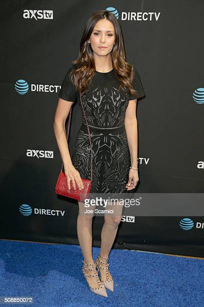 Actress Nina Dobrev attends DirecTV Super Saturday Night Cohosted by Mark Cuban's AXS TV at Pier 70 on February 6 2016 in San Francisco California