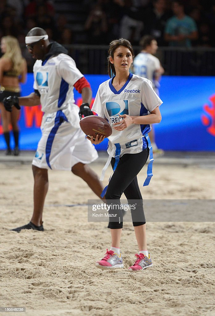 Actress Nina Dobrev attends DIRECTV'S 7th annual celebrity Beach Bowl at DTV SuperFan Stadium at Mardi Gras World on February 2, 2013 in New Orleans, Louisiana.