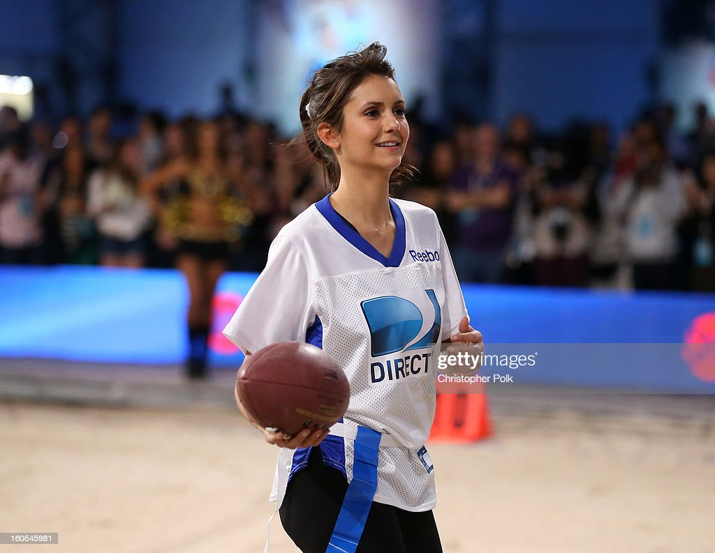 Actress Nina Dobrev attends DIRECTV'S Seventh Annual Celebrity Beach Bowl at DTV SuperFan Stadium at Mardi Gras World on February 2, 2013 in New Orleans, Louisiana.