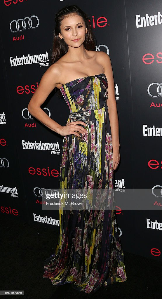 Actress <a gi-track='captionPersonalityLinkClicked' href=/galleries/search?phrase=Nina+Dobrev&family=editorial&specificpeople=4397485 ng-click='$event.stopPropagation()'>Nina Dobrev</a> attends Entertainment Weekly Screen Actors Guild Awards Pre-Party at Chateau Marmont on January 26, 2013 in Los Angeles, California.