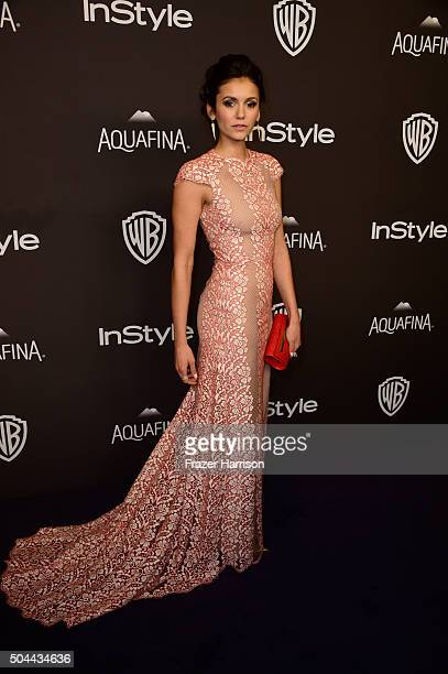 Actress Nina Dobrev attends InStyle and Warner Bros 73rd Annual Golden Globe Awards PostParty at The Beverly Hilton Hotel on January 10 2016 in...
