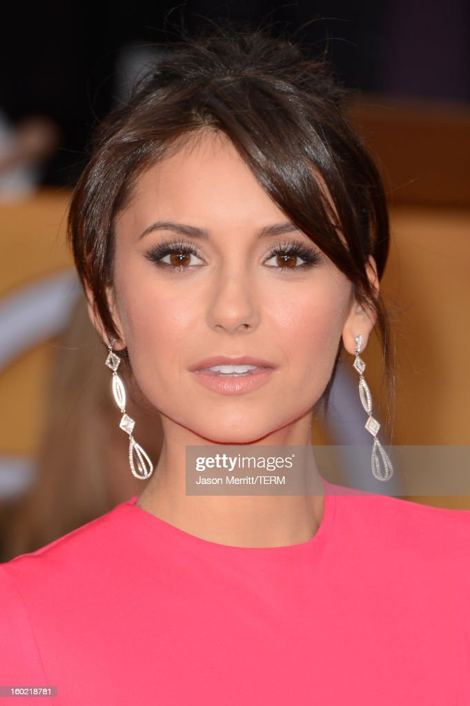 Actress <a gi-track='captionPersonalityLinkClicked' href=/galleries/search?phrase=Nina+Dobrev&family=editorial&specificpeople=4397485 ng-click='$event.stopPropagation()'>Nina Dobrev</a> attends the 19th Annual Screen Actors Guild Awards at The Shrine Auditorium on January 27, 2013 in Los Angeles, California. (Photo by Jason Merritt/WireImage) 23116_014_1461.jpg