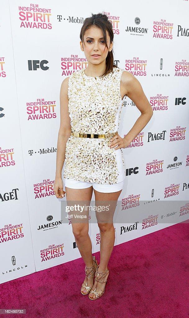 Actress Nina Dobrev attends the 2013 Film Independent Spirit Awards at Santa Monica Beach on February 23, 2013 in Santa Monica, California.