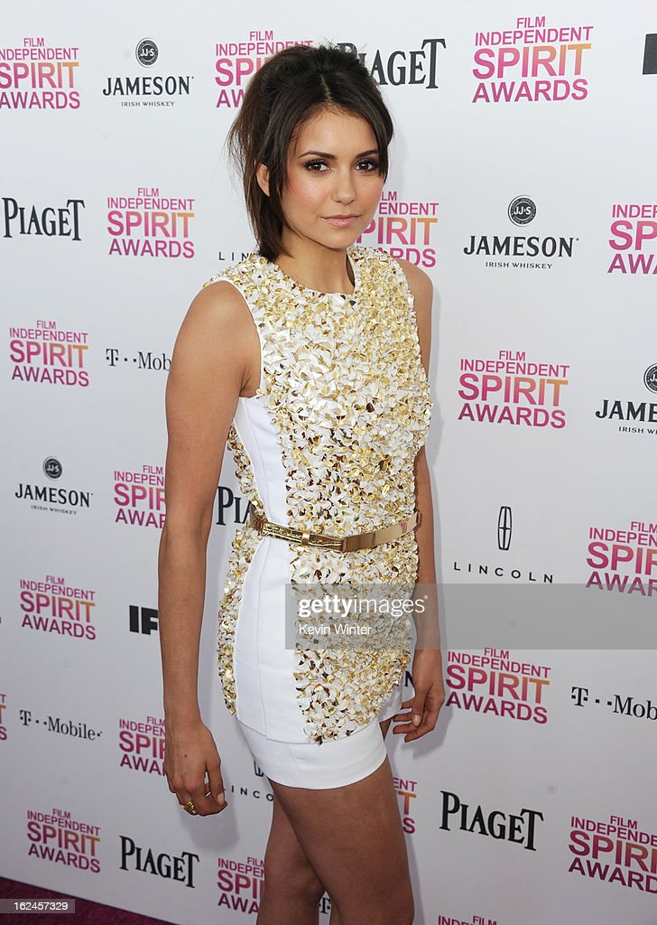 Actress <a gi-track='captionPersonalityLinkClicked' href=/galleries/search?phrase=Nina+Dobrev&family=editorial&specificpeople=4397485 ng-click='$event.stopPropagation()'>Nina Dobrev</a> attends the 2013 Film Independent Spirit Awards at Santa Monica Beach on February 23, 2013 in Santa Monica, California.