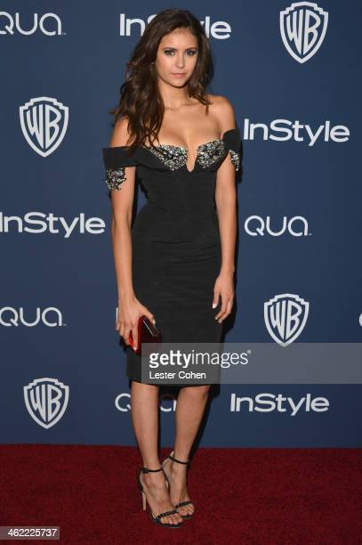 Actress Nina Dobrev attends the 2014 InStyle And Warner Bros 71st Annual Golden Globe Awards PostParty held at The Beverly Hilton Hotel on January 12...