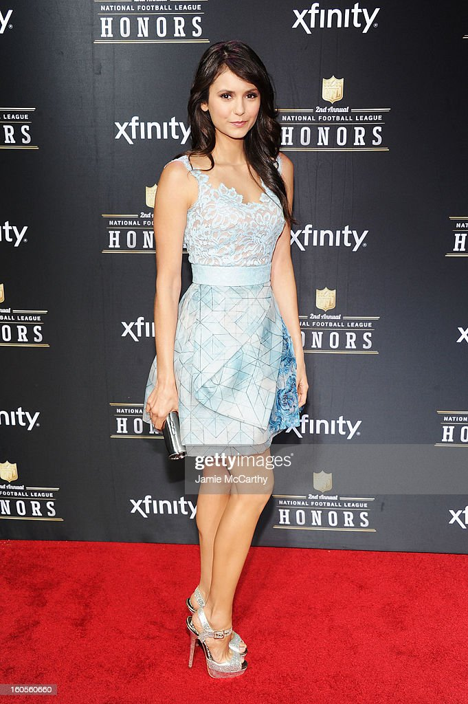 Actress <a gi-track='captionPersonalityLinkClicked' href=/galleries/search?phrase=Nina+Dobrev&family=editorial&specificpeople=4397485 ng-click='$event.stopPropagation()'>Nina Dobrev</a> attends the 2nd Annual NFL Honors at Mahalia Jackson Theater on February 2, 2013 in New Orleans, Louisiana.
