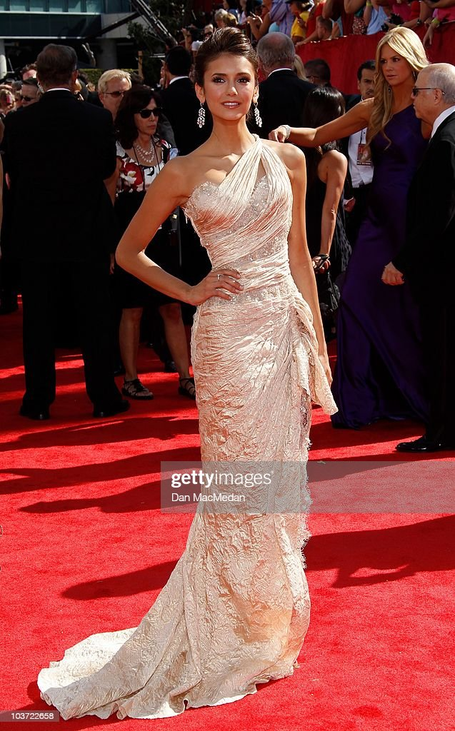 Actress Nina Dobrev attends the 62nd Annual Primetime Emmy Awards at Nokia Theatre Live L.A. on August 29, 2010 in Los Angeles, California.