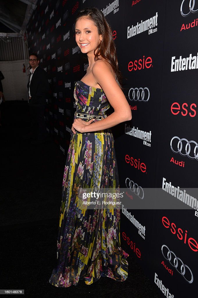 Actress <a gi-track='captionPersonalityLinkClicked' href=/galleries/search?phrase=Nina+Dobrev&family=editorial&specificpeople=4397485 ng-click='$event.stopPropagation()'>Nina Dobrev</a> attends the Entertainment Weekly Pre-SAG Party hosted by Essie and Audi held at Chateau Marmont on January 26, 2013 in Los Angeles, California.