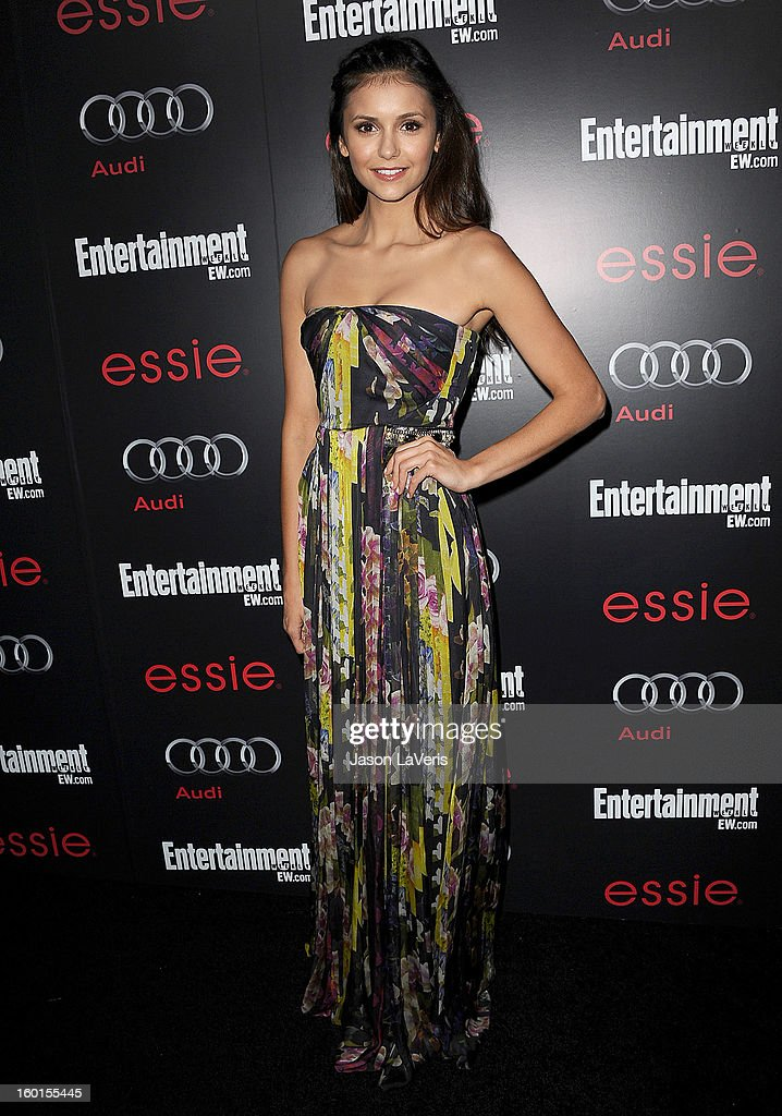 Actress <a gi-track='captionPersonalityLinkClicked' href=/galleries/search?phrase=Nina+Dobrev&family=editorial&specificpeople=4397485 ng-click='$event.stopPropagation()'>Nina Dobrev</a> attends the Entertainment Weekly Screen Actors Guild Awards pre-party at Chateau Marmont on January 26, 2013 in Los Angeles, California.