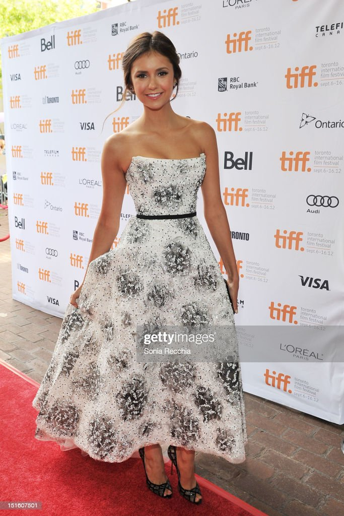 Actress <a gi-track='captionPersonalityLinkClicked' href=/galleries/search?phrase=Nina+Dobrev&family=editorial&specificpeople=4397485 ng-click='$event.stopPropagation()'>Nina Dobrev</a> attends 'The Perks Of Being A Wallflower' premiere during the 2012 Toronto International Film Festival at Ryerson Theatre on September 8, 2012 in Toronto, Canada.
