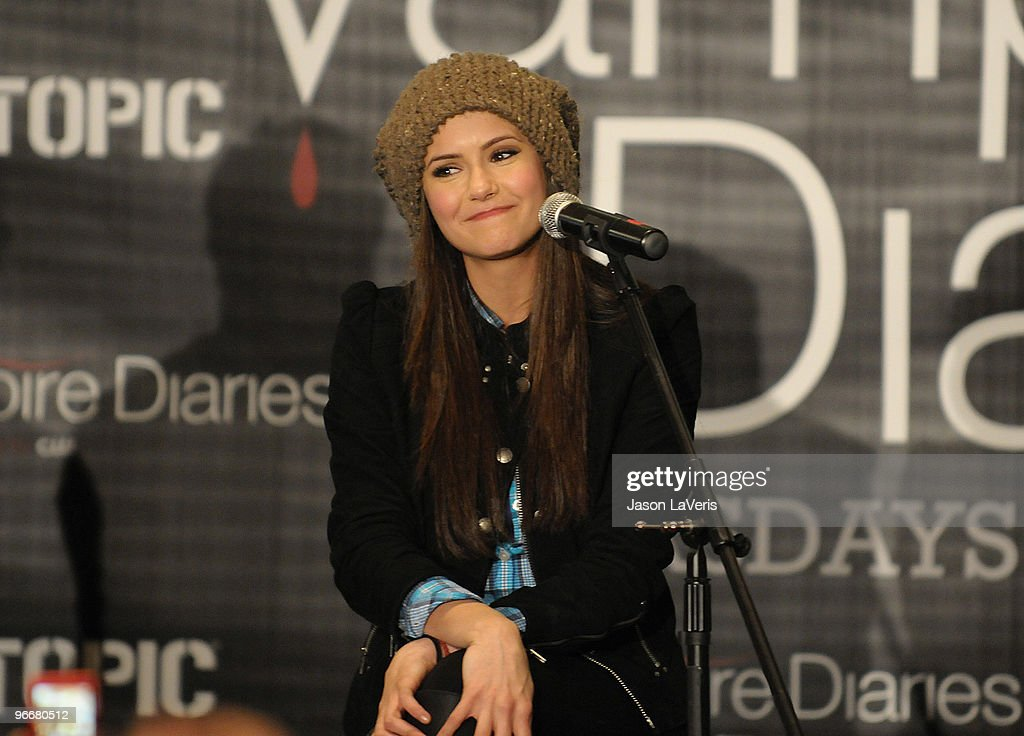 Actress Nina Dobrev attends 'The Vampire Diaries' Hot Topic tour at Hot Topic on February 13, 2010 in Canoga Park, California.