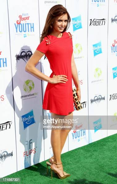 Actress Nina Dobrev attends Variety's Power of Youth presented by Hasbro Inc and generationOn at Universal Studios Backlot on July 27 2013 in...