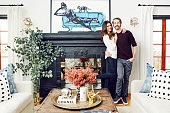 Actress Nina Dobrev is photographed in her home with interior designer Mat Sanders of Consort Design for Domaine Home on December 23 2015 in Los...