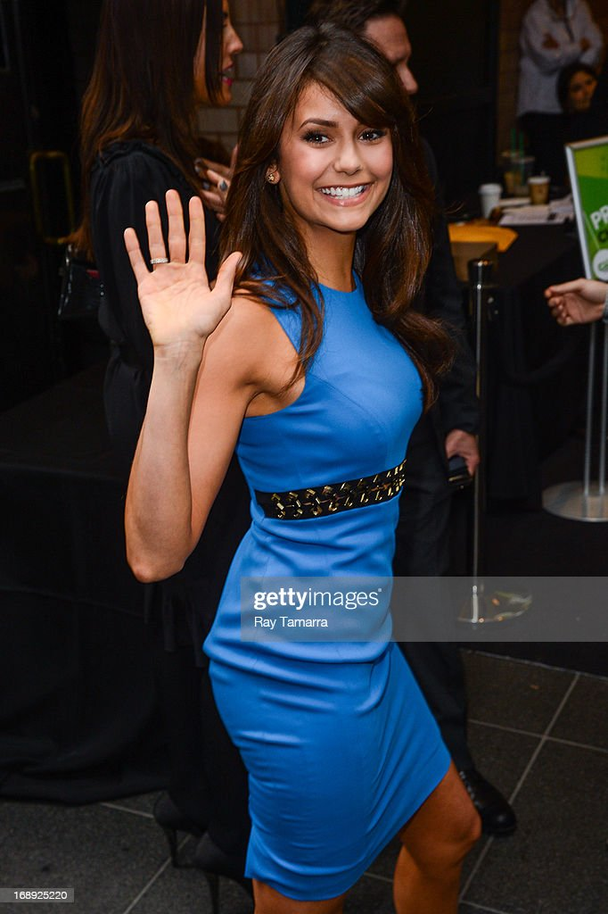 Actress <a gi-track='captionPersonalityLinkClicked' href=/galleries/search?phrase=Nina+Dobrev&family=editorial&specificpeople=4397485 ng-click='$event.stopPropagation()'>Nina Dobrev</a> leaves her Midtown Manhattan hotel on May 16, 2013 in New York City.