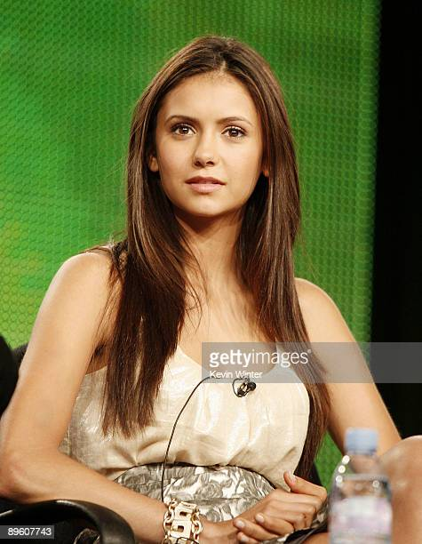 Actress Nina Dobrev of 'The Vampire Diaries' appears during the CW Network portion of the 2009 Summer Television Critics Association Press Tour at...
