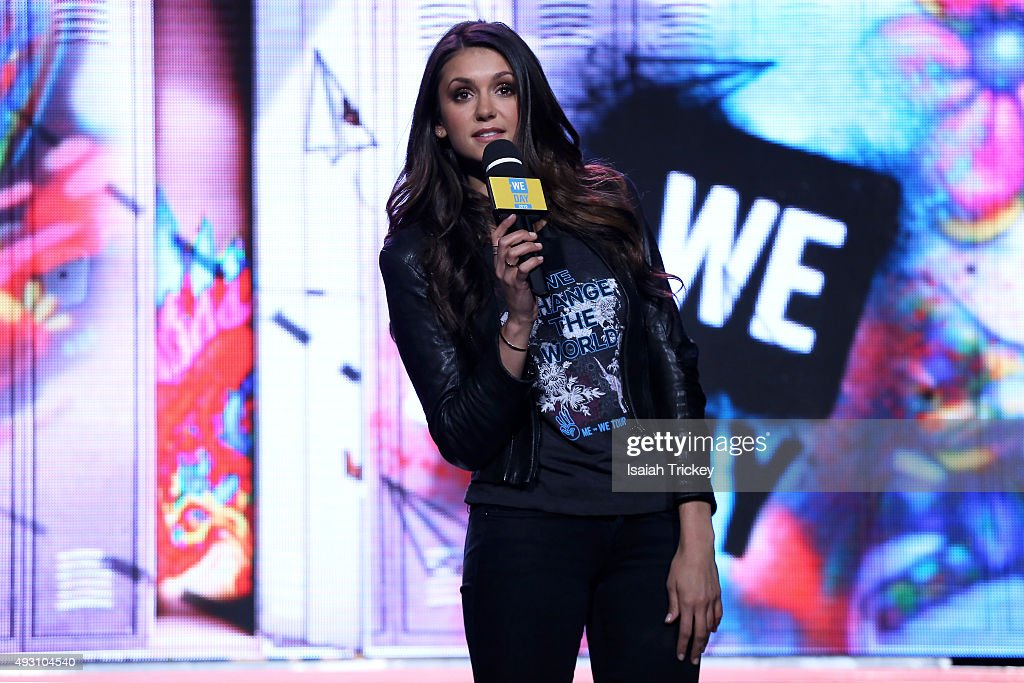 Actress Nina Dobrev on stage at WE Day Toronto at the Air Canada Centre on October 1, 2015 in Toronto, Canada.