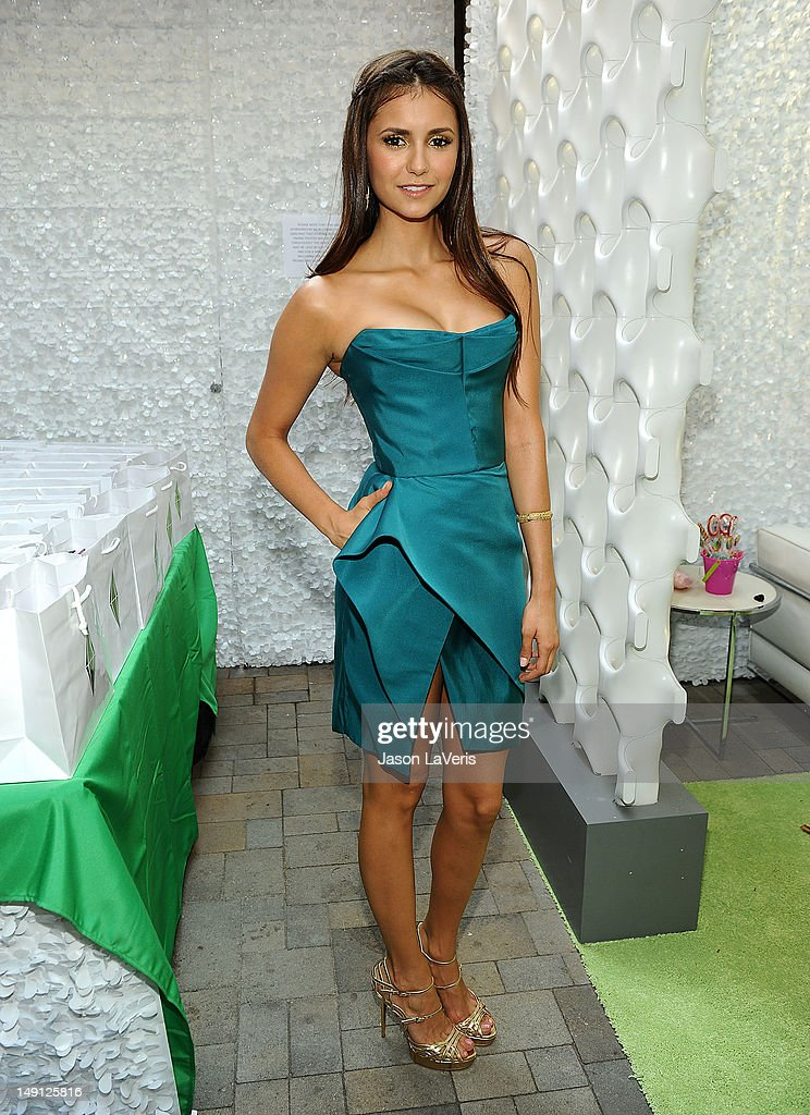 Actress <a gi-track='captionPersonalityLinkClicked' href=/galleries/search?phrase=Nina+Dobrev&family=editorial&specificpeople=4397485 ng-click='$event.stopPropagation()'>Nina Dobrev</a> poses in the green room at the 2012 Teen Choice Awards at Gibson Amphitheatre on July 22, 2012 in Universal City, California.