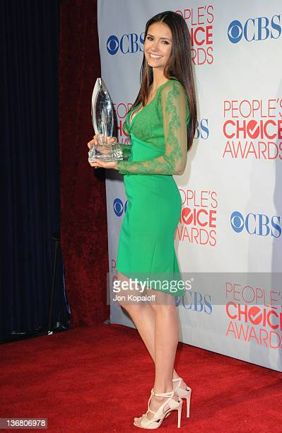 Actress Nina Dobrev poses in the press room at 2012 People's Choice Awards held at Nokia Theatre LA Live on January 11 2012 in Los Angeles California