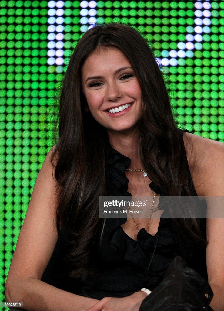 Actress <a gi-track='captionPersonalityLinkClicked' href=/galleries/search?phrase=Nina+Dobrev&family=editorial&specificpeople=4397485 ng-click='$event.stopPropagation()'>Nina Dobrev</a> speaks onstage at the CW 'The Vampire Diaries' Q&A portion of the 2010 Winter TCA Tour day 1 at the Langham Hotel on January 9, 2010 in Pasadena, California.