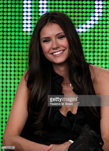 Actress Nina Dobrev speaks onstage at the CW 'The Vampire Diaries' QA portion of the 2010 Winter TCA Tour day 1 at the Langham Hotel on January 9...