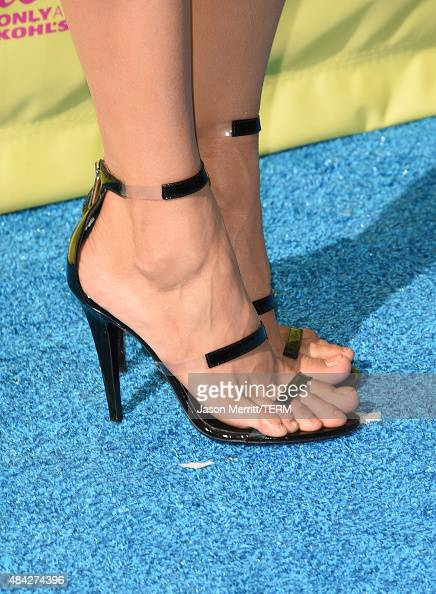 Actress Nina Dorev shoe detail attends the Teen Choice Awards 2015 at the USC Galen Center on August 16 2015 in Los Angeles California
