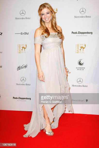 Actress Nina Eichinger poses on the red carpet for the Bambi 2010 Award at Filmpark Babelsberg on November 11 2010 in Potsdam Germany