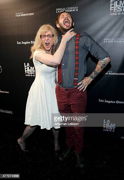 Actress Nina Hartley and director Tomm Jacobsen attend the 'Dude Bro Party Massacre III' and 'SheVenge' screenings during the 2015 Los Angeles Film...