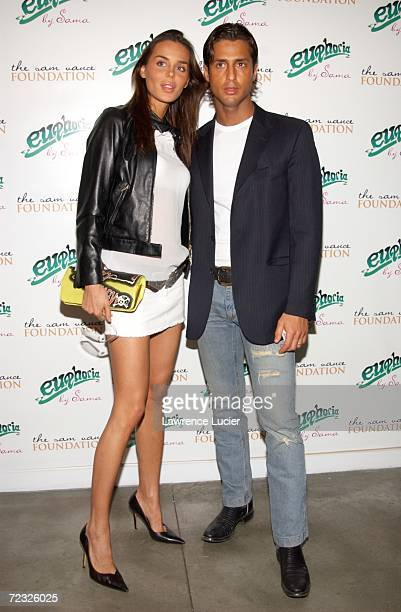 Actress Nina Moric and husband Fabrizio Corona arrive at the launch party for designer Sheila Vances Euphoria eyeware collection March 13 in New York...