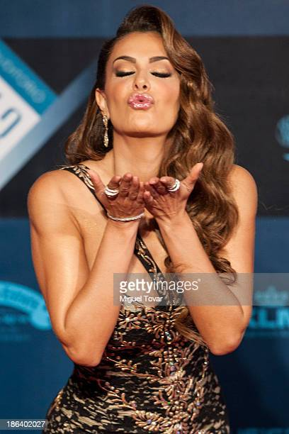 Actress Ninel Conde poses during the red carpet of Lunas del Auditorio awarding ceremony on October 30 2013 in Mexico City Mexico
