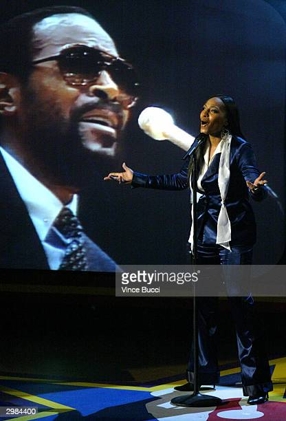 Actress Nona Gaye performs a video duet with her late father singer Marvin Gaye during the NBA AllStar Saturday Night festivities on February 14 2004...
