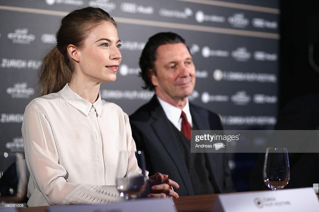 Actress Nora von Waldstaetten and director Martin Suter attend the 'Die Dunkle Seite Des Mondes' Press Conference during the Zurich Film Festival on September 27, 2015 in Zurich, Switzerland. The 11th Zurich Film Festival will take place from September 23 until October 4.