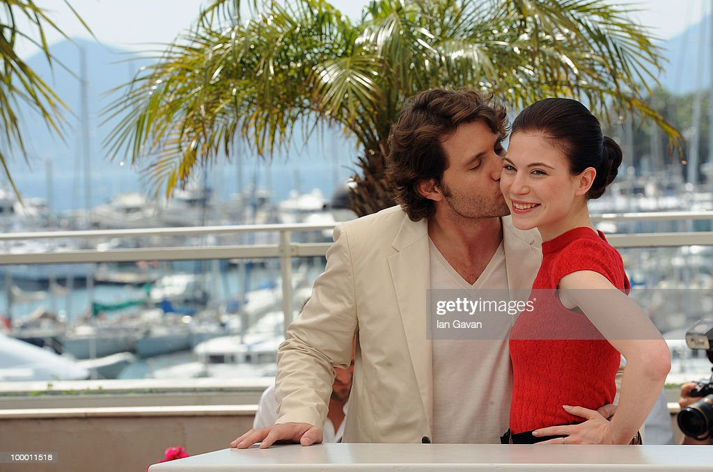 Actress Nora Von Waldstatten is kissed by actor Edgar Ramirez at the 'Carlos' Photocall at the Palais des Festivals during the 63rd Annual Cannes Film Festival on May 20, 2010 in Cannes, France.