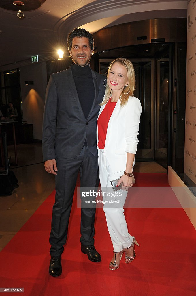 Actress <a gi-track='captionPersonalityLinkClicked' href=/galleries/search?phrase=Nova+Meierhenrich&family=editorial&specificpeople=215062 ng-click='$event.stopPropagation()'>Nova Meierhenrich</a> and actor Pasquale Aleardi attend Jaeger-LeCoultre Cocktail at Charles hotel on November 26, 2013 in Munich, Germany.