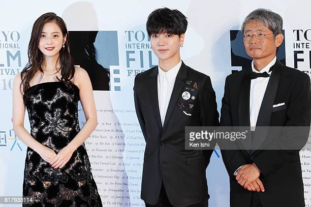 Actress Nozomi Sasaki actor Yesung and director Yuzo Asahara attend the Tokyo International Film Festival 2016 Opening Ceremony at Roppongi Hills on...