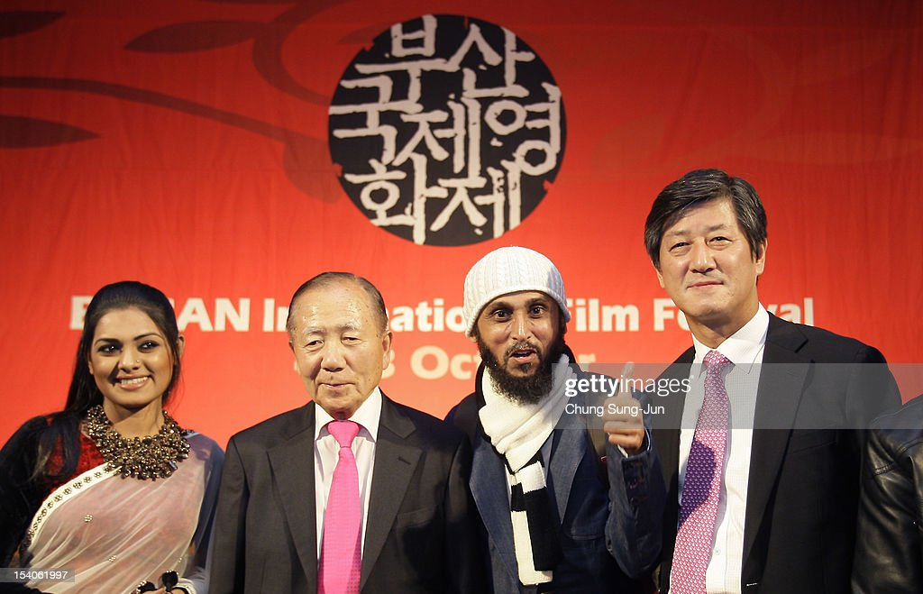 Actress Nusrat Imrose Tisha, Honorary BIFF director, <a gi-track='captionPersonalityLinkClicked' href=/galleries/search?phrase=Kim+Dong-Ho&family=editorial&specificpeople=961641 ng-click='$event.stopPropagation()'>Kim Dong-Ho</a>, director Mostofa Farooki and festival director Lee Yong-Kwan attend a closing party during the 17th Busan International Film Festival (BIFF) at Grand Hotel on October 13, 2012 in Busan, South Korea. The biggest film festival in Asia showcases 304 films from 75 countries and runs from October 4-13.