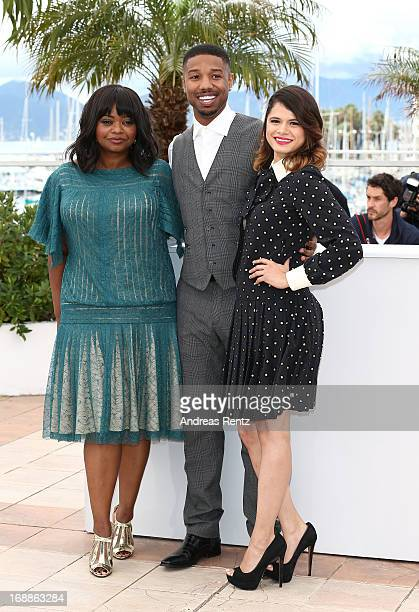Actress Octavia Spencer actor Michael B Jordan Director Ryan Coogler and actress Melonie Diaz attend the 'Fruitvale Station' Photocall during the...