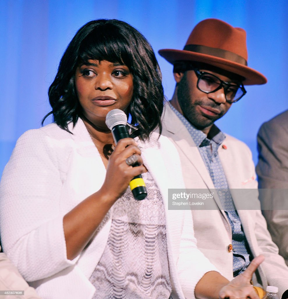 Actress Octavia Spencer and actor Nelsan Ellis attend a special screening of 'Get On Up' hosted by The Academy of Motion Picture Arts And Sciences at...