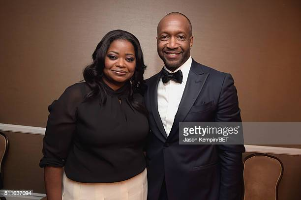 Actress Octavia Spencer and American Black Film Festival founder Jeff Friday pose backstage at the 2016 ABFF Awards A Celebration Of Hollywood at The...