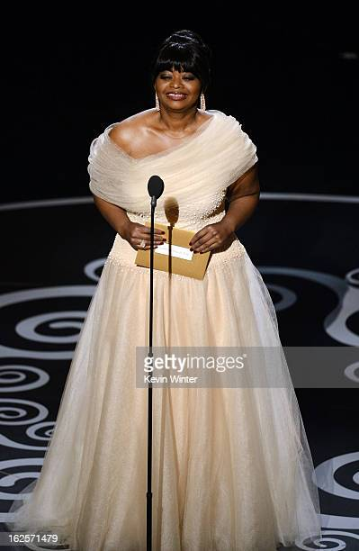 Actress Octavia Spencer presents onstage during the Oscars held at the Dolby Theatre on February 24 2013 in Hollywood California